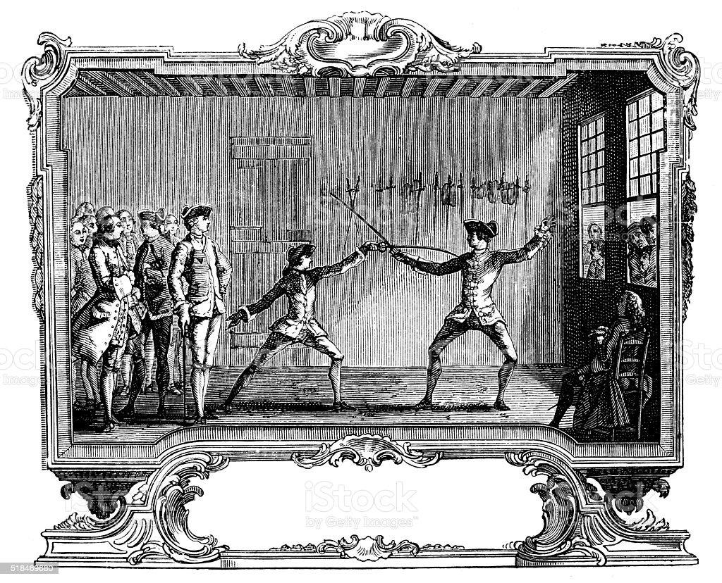 Antique illustration of fencing lesson vector art illustration