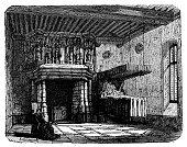 Antique illustration of fireplace of Château de Verdelles (France).