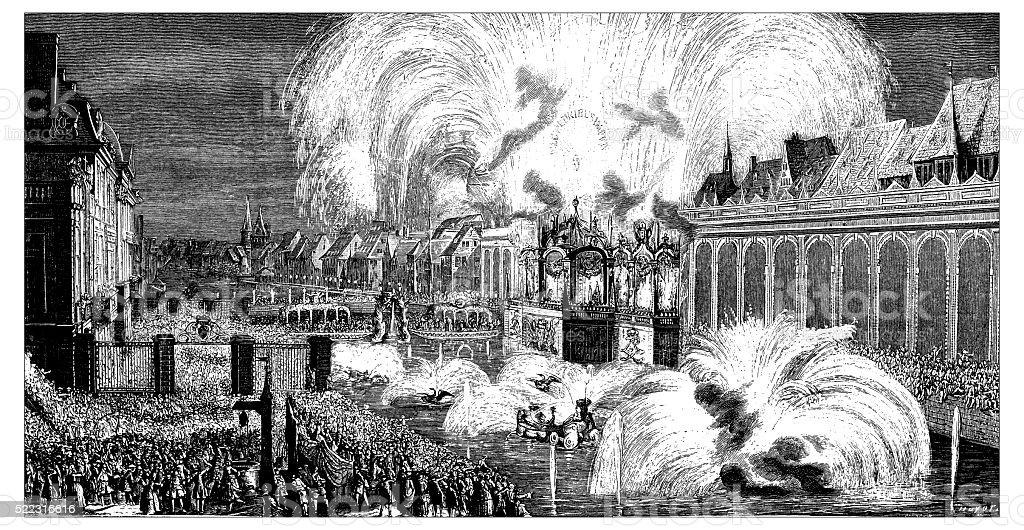 Antique illustration of Fireworks on the Ill River in Strasbourg vector art illustration