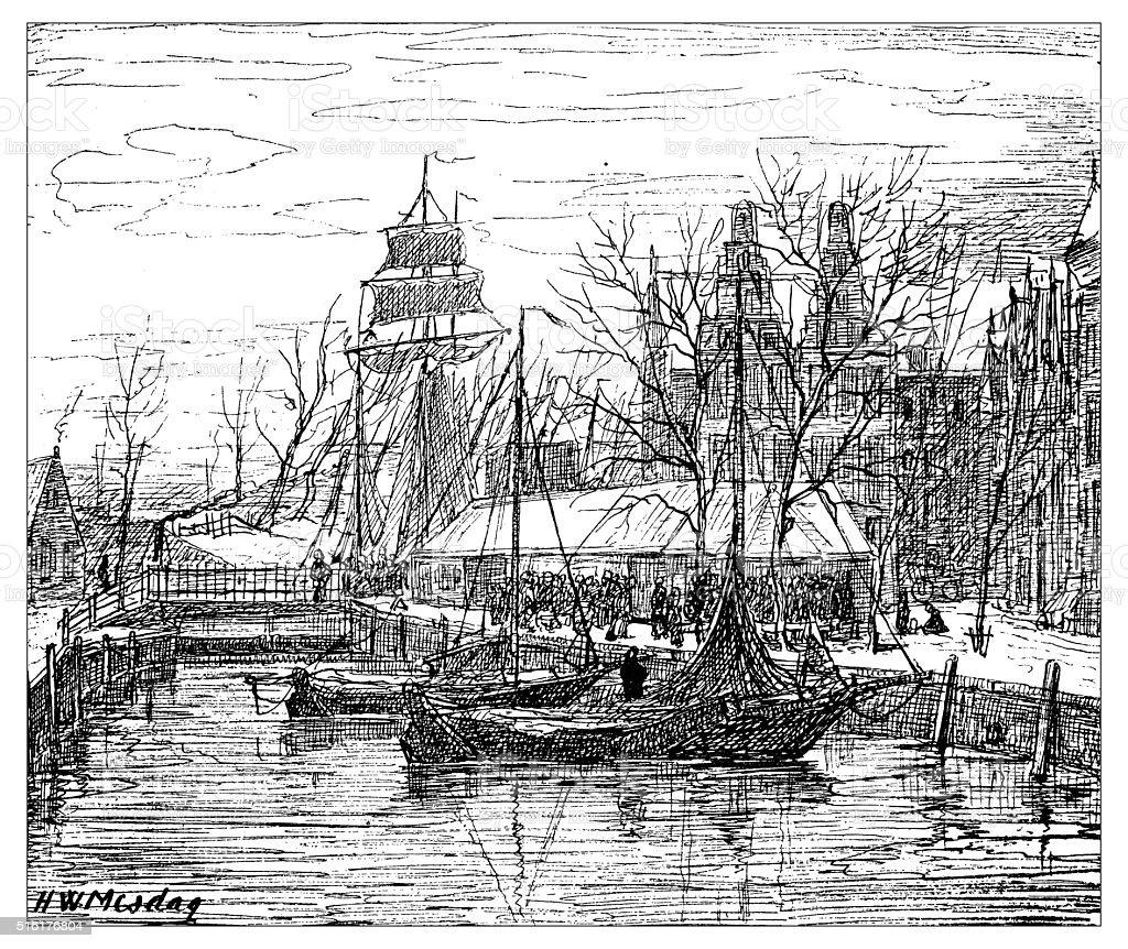Antique illustration of fish market on AA river (Groningen) vector art illustration