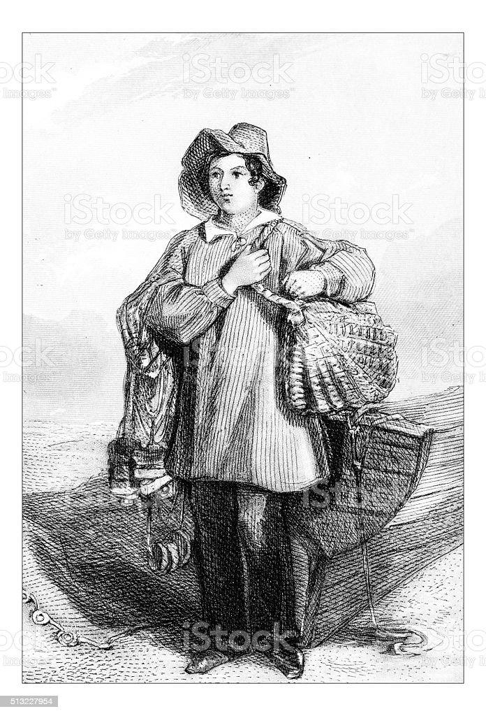 Antique illustration of fisherman vector art illustration
