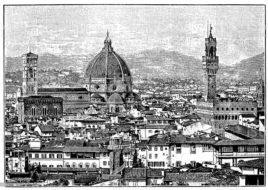 Antique illustration of Florence cityscape vector art illustration