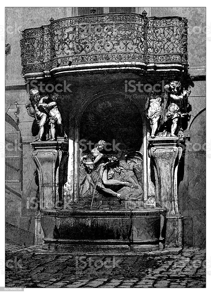 Antique illustration of fountain with sculpture of Perseus freeing Andromeda vector art illustration