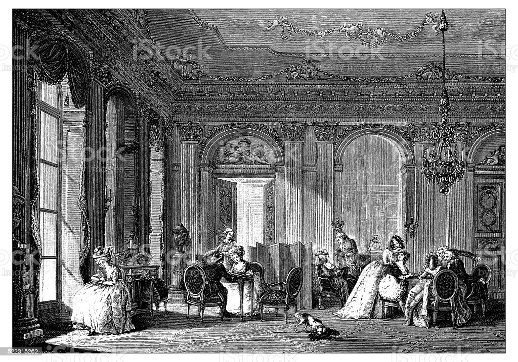Antique illustration of French 18th century neoclassical living room vector art illustration