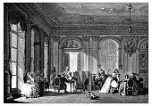 Antique illustration of French 18th century neoclassical living room