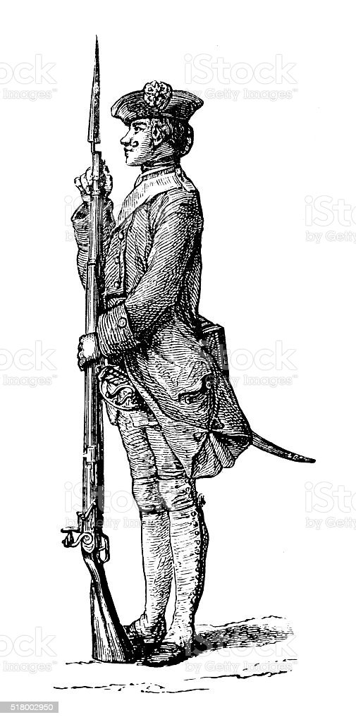 Antique illustration of French soldier vector art illustration