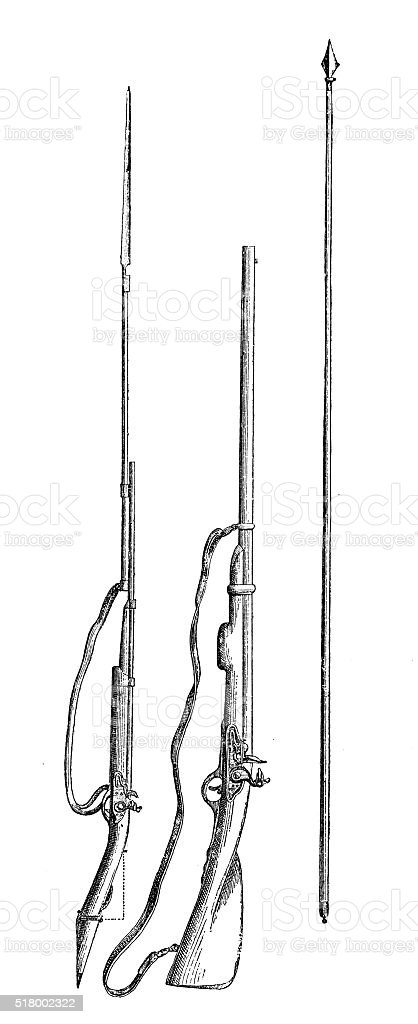 Antique illustration of French weapon vector art illustration