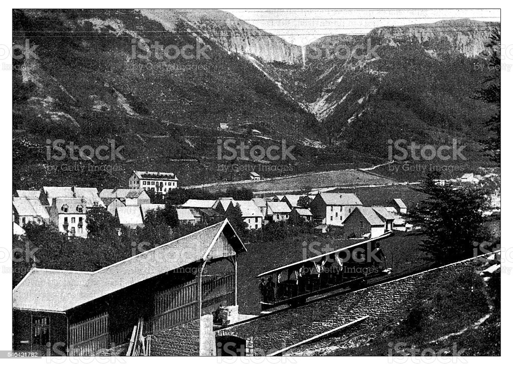 Antique illustration of funicular vector art illustration