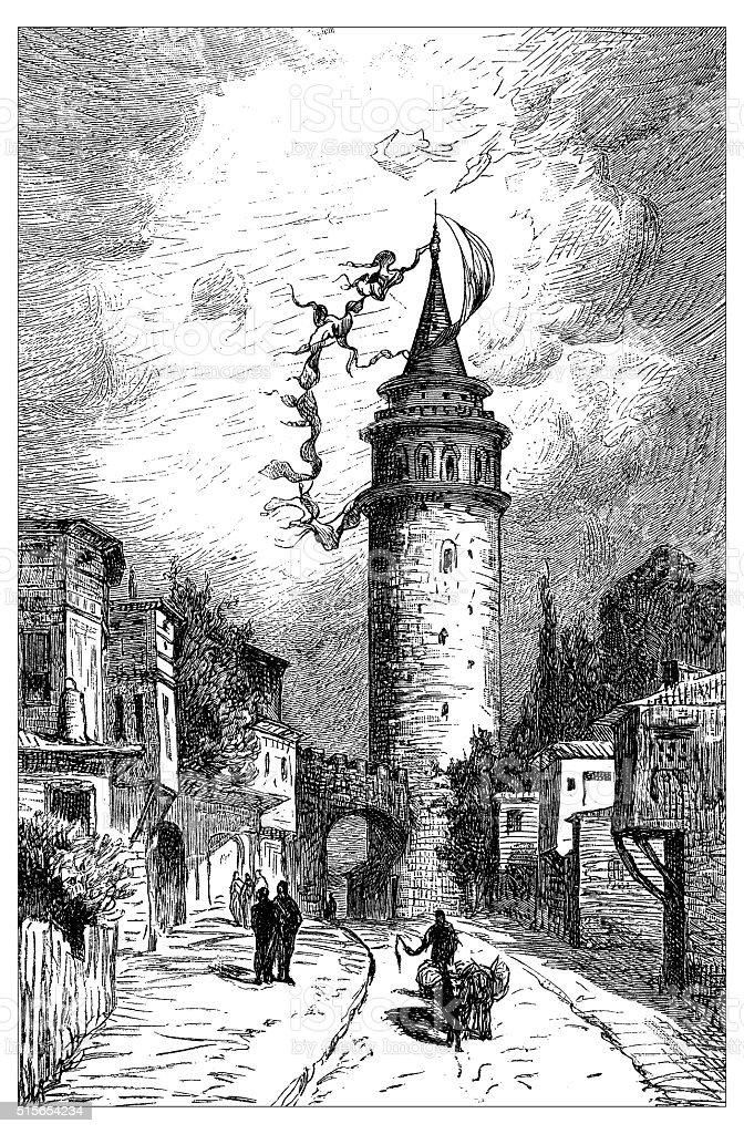 Antique illustration of Galata Tower (Istanbul, Turkey) vector art illustration