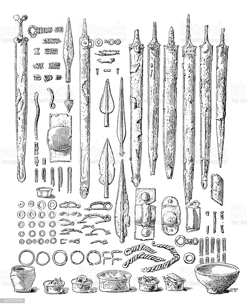 Antique illustration of Gallic weapons and other artifacts vector art illustration