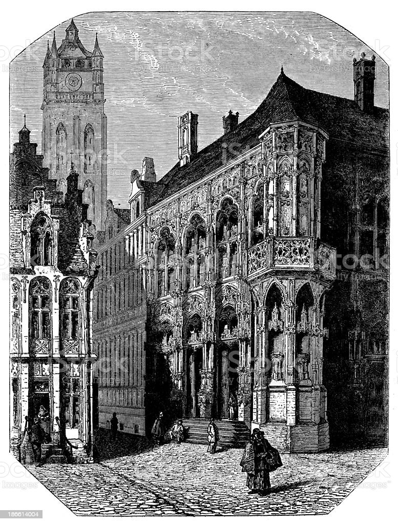 Antique illustration of Gand's city hall vector art illustration