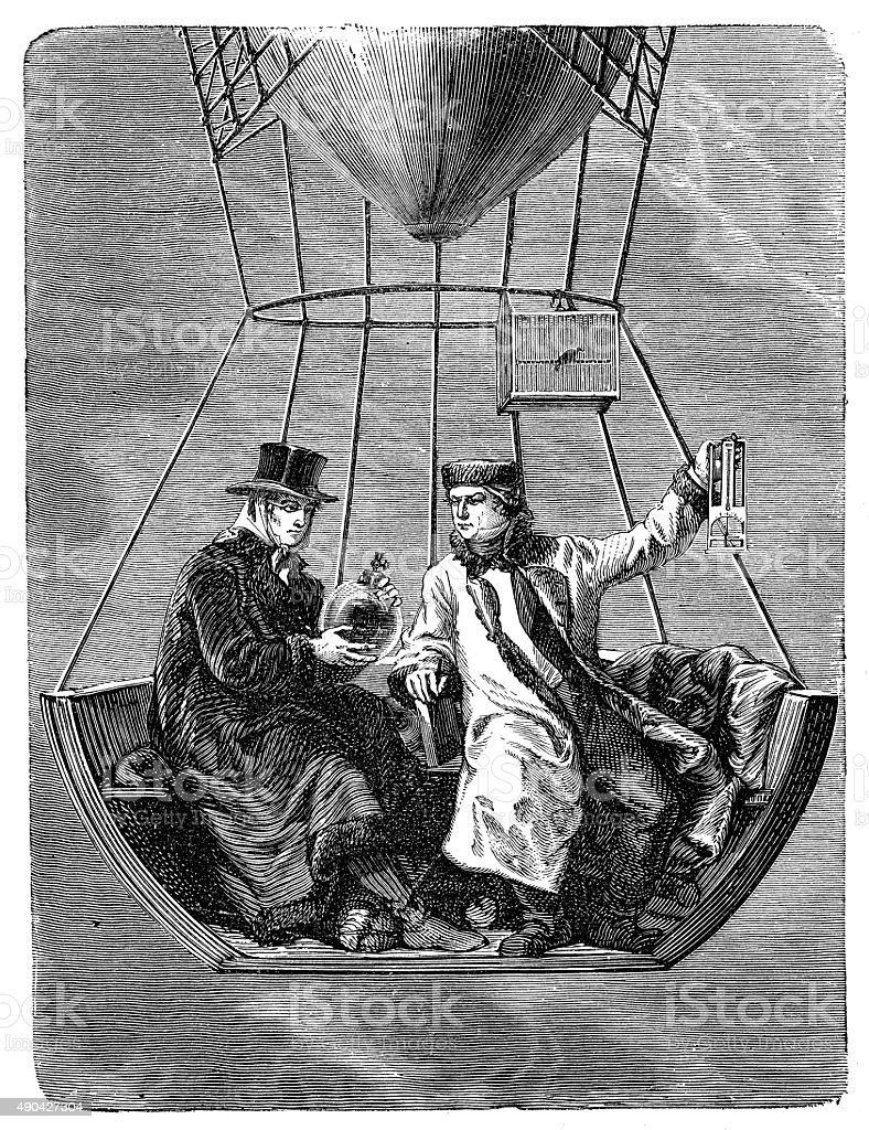 Antique illustration of Gay-Lussac and Biot on air balloon vector art illustration