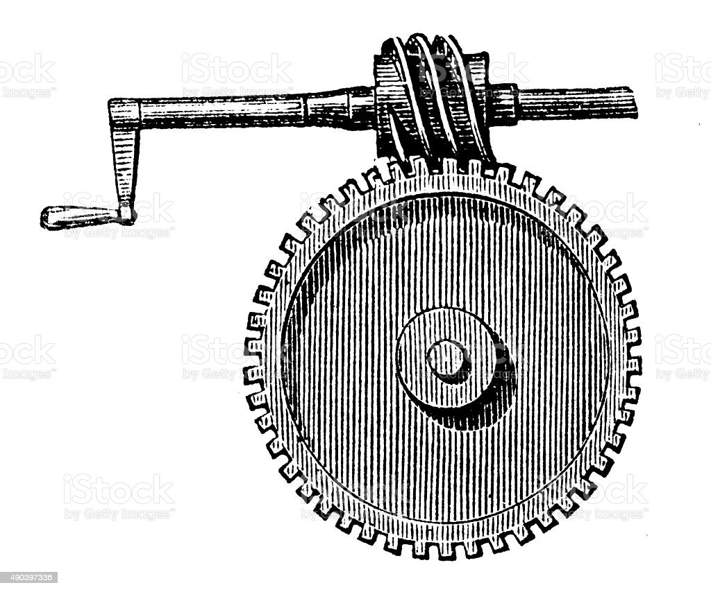 Antique illustration of gear mechanism vector art illustration