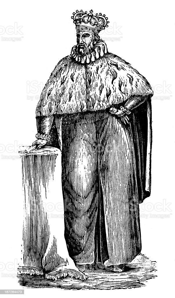 Antique illustration of Genoa Doge (duke) vector art illustration