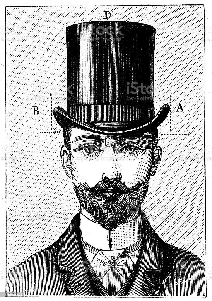 Antique illustration of gentleman hat dimensions vector art illustration