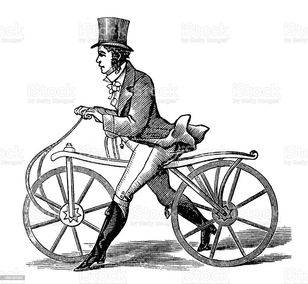 Antique illustration of gentleman with bicycle vector art illustration
