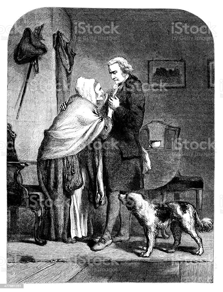 Antique illustration of George Washington with his mother royalty-free stock vector art
