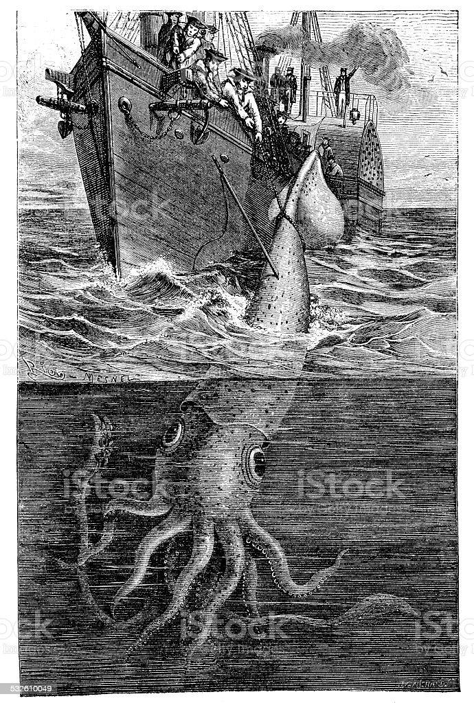 Antique illustration of giant squid fishing vector art illustration