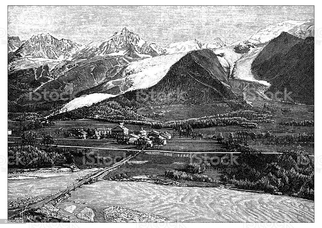 Antique illustration of Glacier des Bossons et de Taconnaz vector art illustration