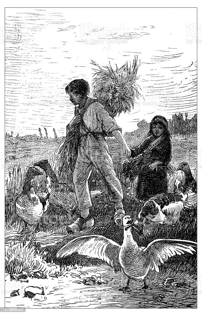 Antique illustration of gleaners working in a field vector art illustration