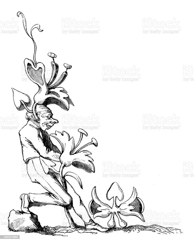 Antique illustration of gnome corner royalty-free stock vector art