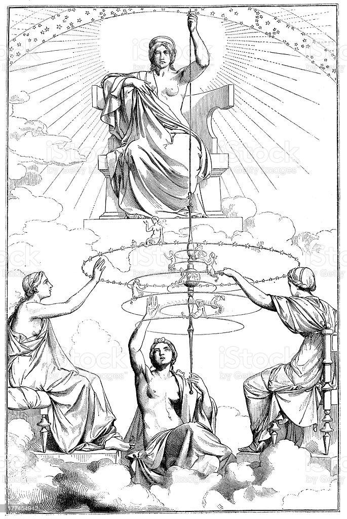Antique illustration of goddess royalty-free stock vector art
