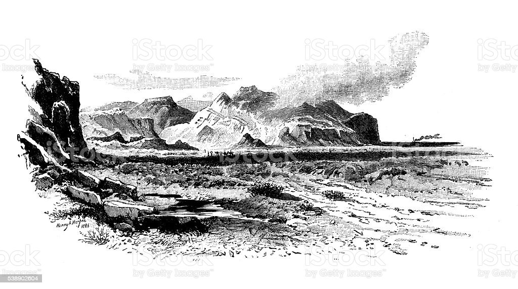 Antique illustration of great plains of El Murkha vector art illustration
