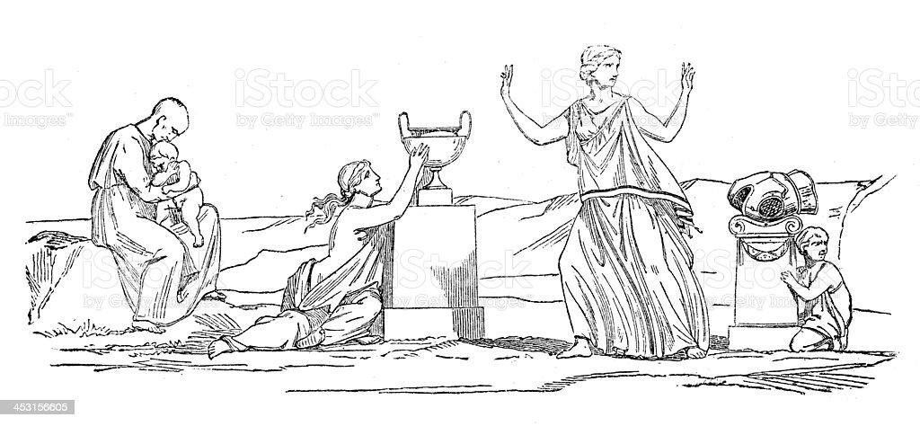 Antique illustration of Greek mythological figures (series 16 engravings) royalty-free stock vector art