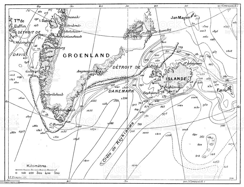 Antique illustration of Greenland and Iceland bathymetry map vector art illustration