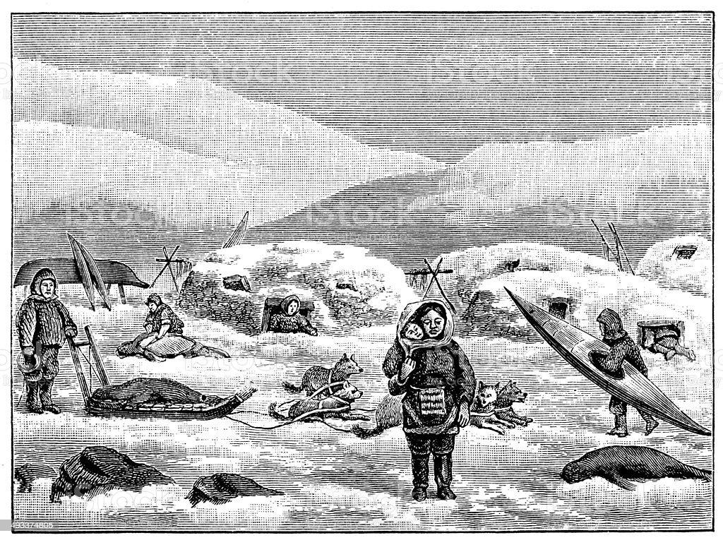 Antique illustration of Greenland Eskimo people vector art illustration