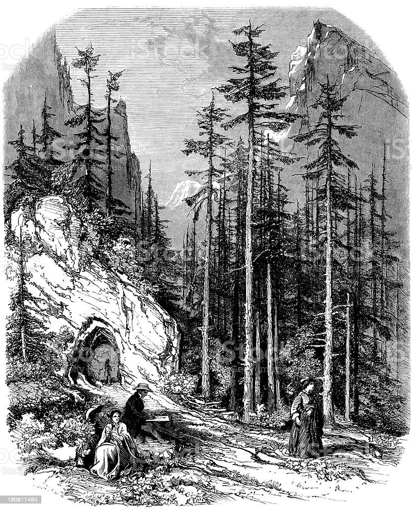 Antique illustration of Grenoble landscape royalty-free stock vector art