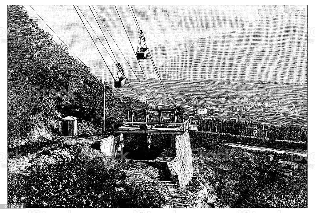 Antique illustration of Grenoble Porte-de-France chair lift cable car vector art illustration