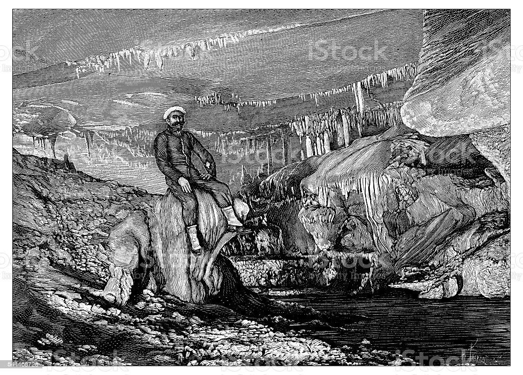 Antique illustration of Grottes de Bétharram vector art illustration