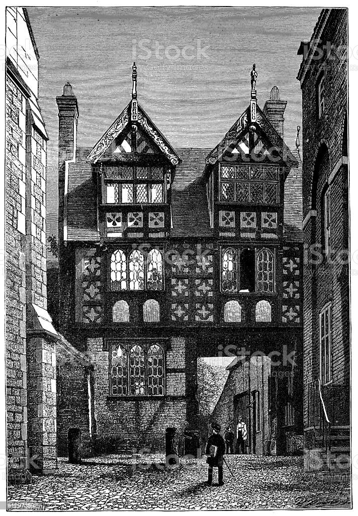 Antique illustration of half-timbered building in Shrewsbury (England) vector art illustration
