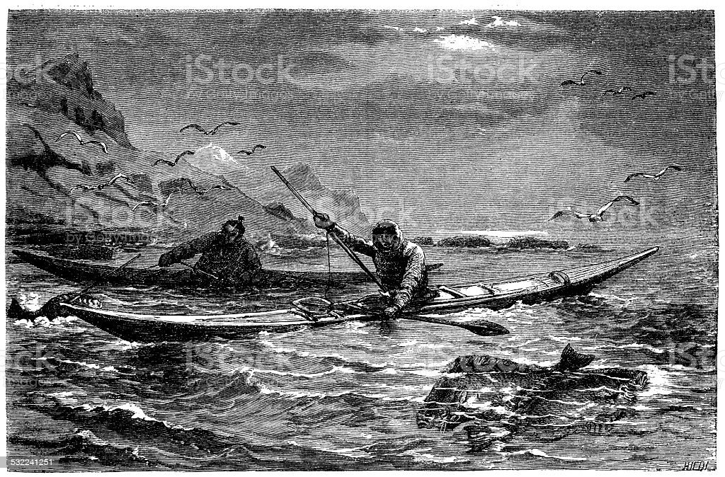 Antique illustration of Halibut fishing in Greenland vector art illustration