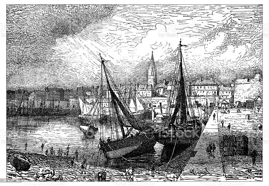 Antique illustration of harbor of Saint-Malo during low tide (France) vector art illustration