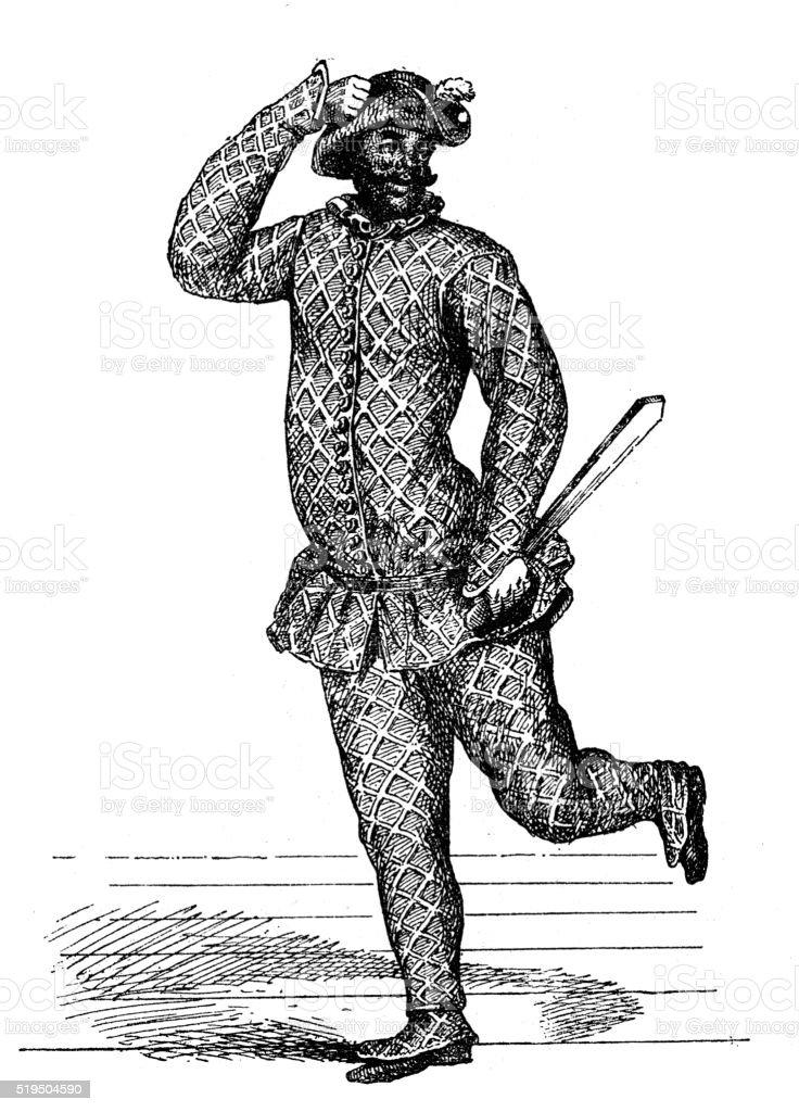 Antique illustration of Harlequin performing on stage vector art illustration