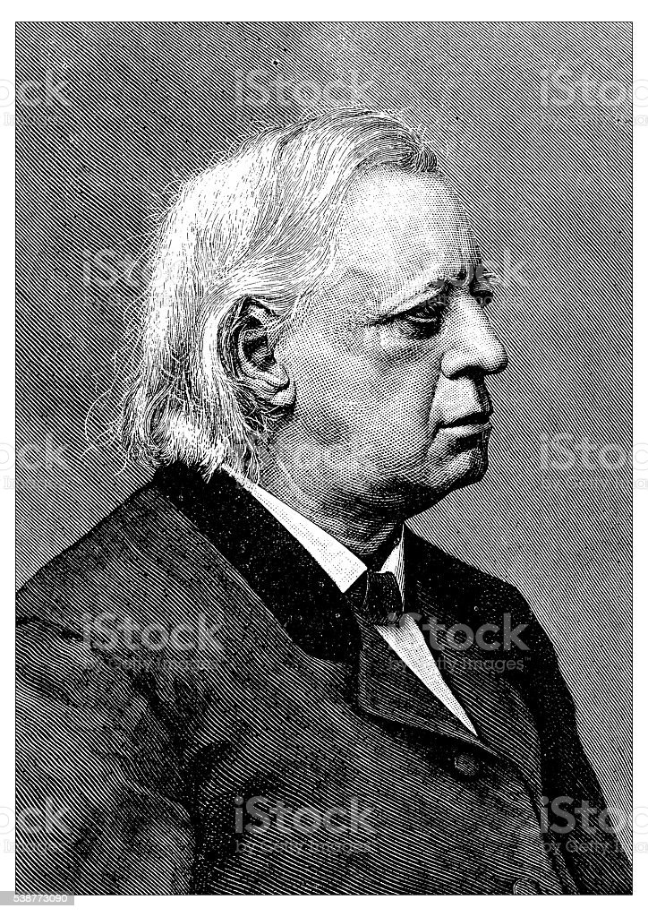 Antique illustration of Henry Ward Beecher vector art illustration