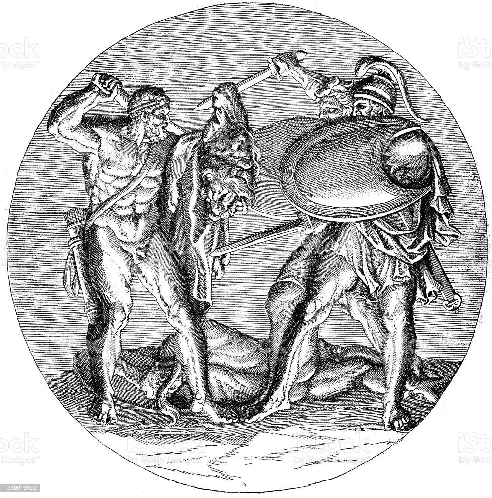Antique illustration of Heracles fighting with Diomedes and his men vector art illustration