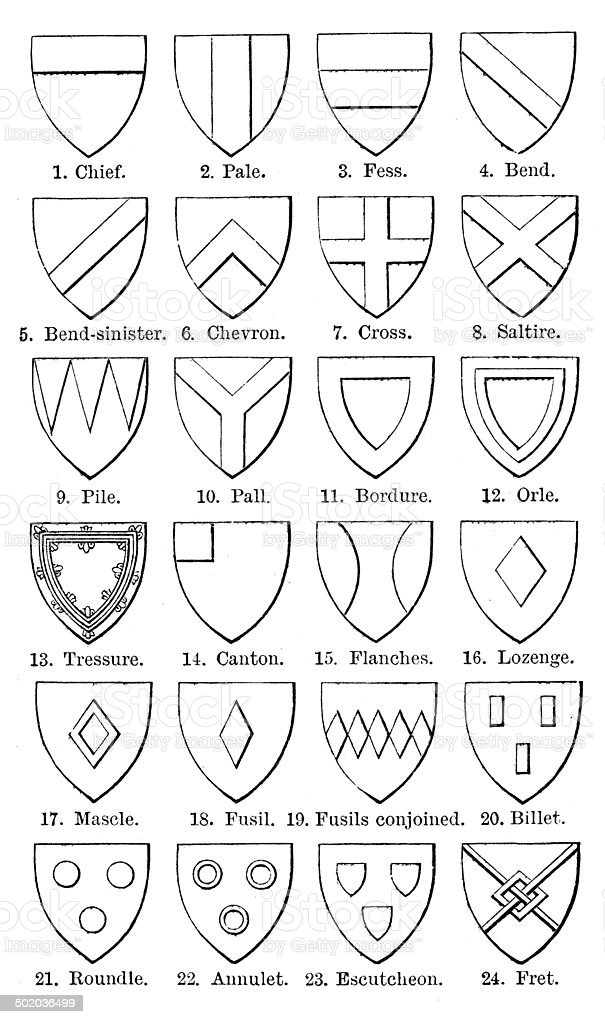 Antique illustration of Heraldry symbols collection royalty-free stock vector art