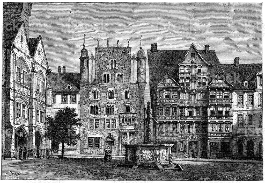 Antique illustration of Hildesheim town square vector art illustration