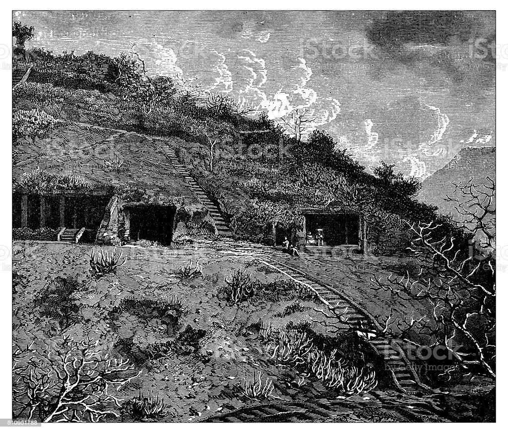 Antique illustration of hill with caves in Bamyab area (Afghanistan) vector art illustration