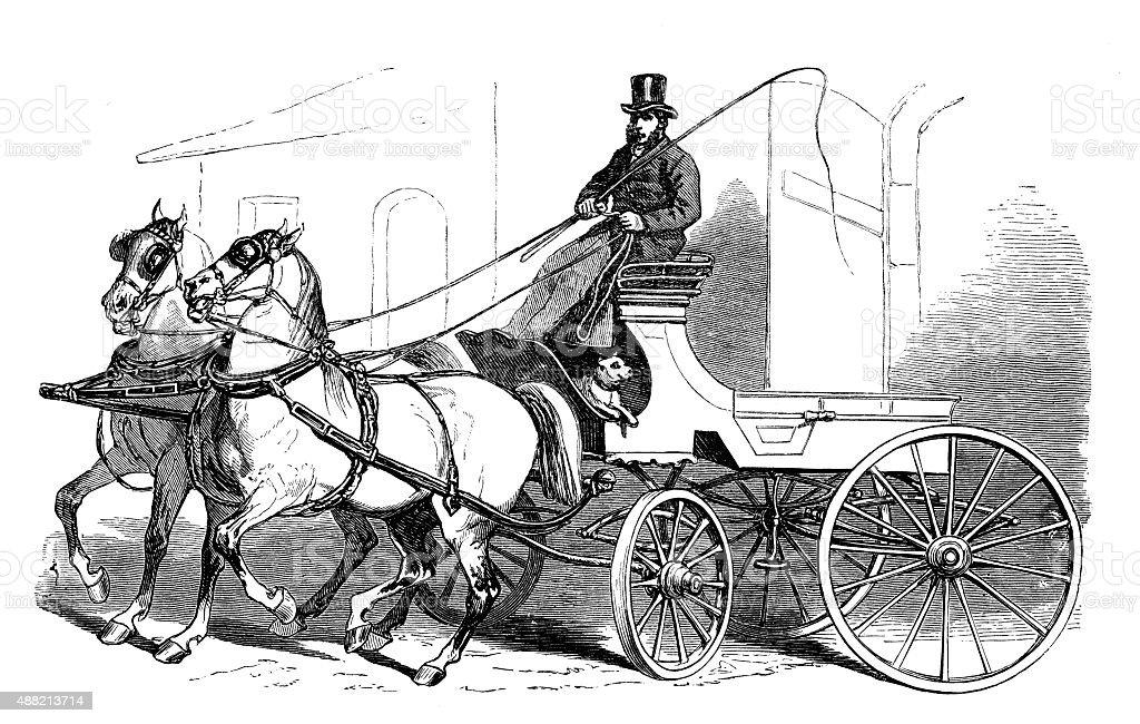 Antique illustration of horse carriage vector art illustration