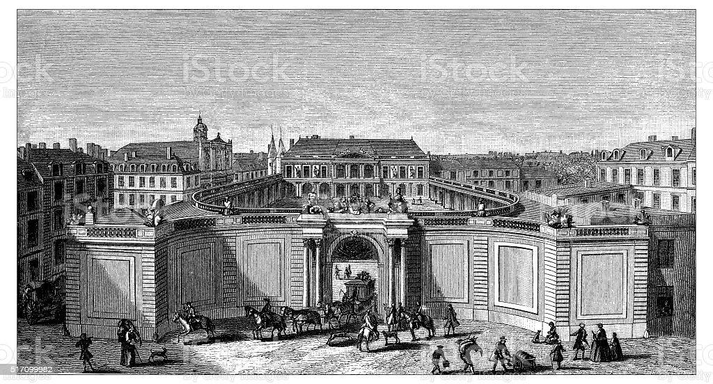 Antique illustration of Hotel de Rohan Soubise vector art illustration