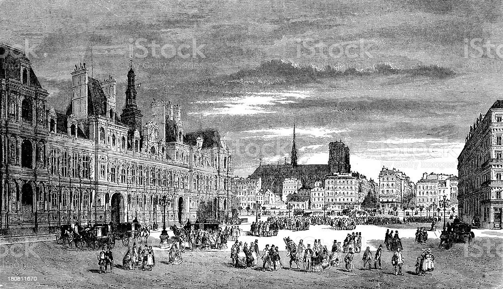 Antique illustration of Hotel de Ville, Paris royalty-free stock vector art