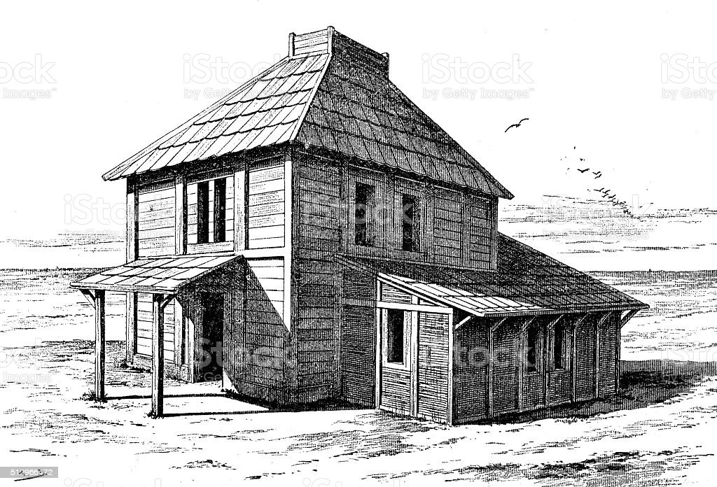 Antique illustration of House of the Huns vector art illustration