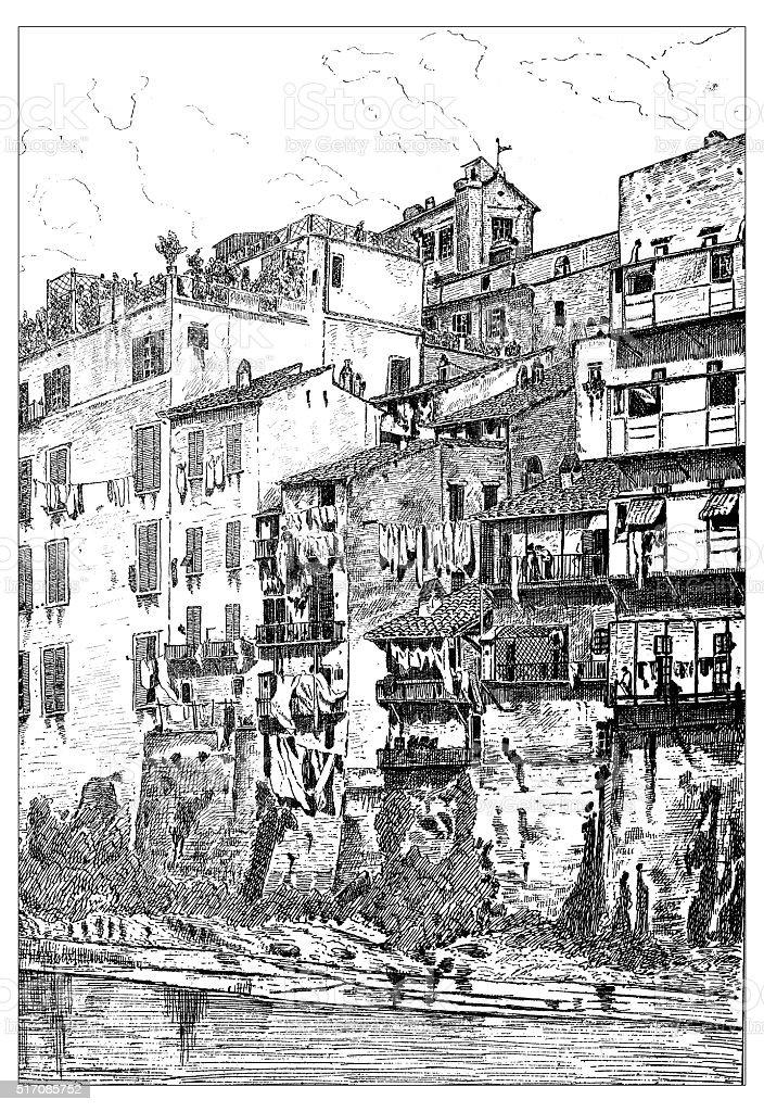 Antique illustration of house on river Tiber in Rome (Italy) vector art illustration