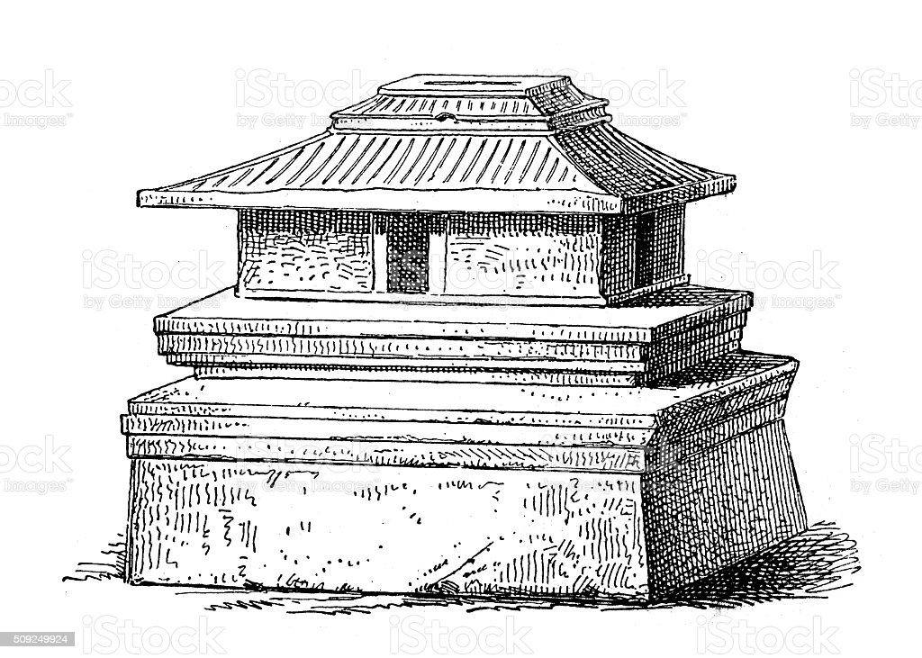 Antique illustration of house-shaped urn from Chiusi Etruscan cemetery vector art illustration