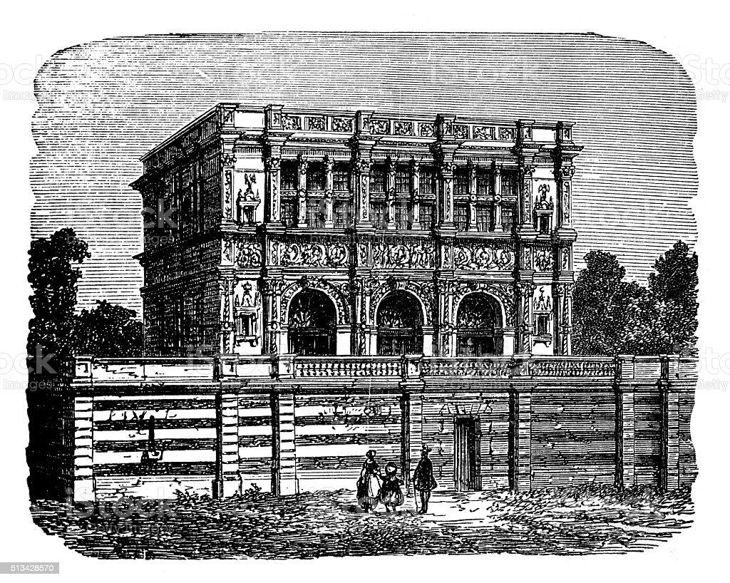 Antique illustration of hôtel de Chabouillé File (Moret-sur-Loing, France) vector art illustration