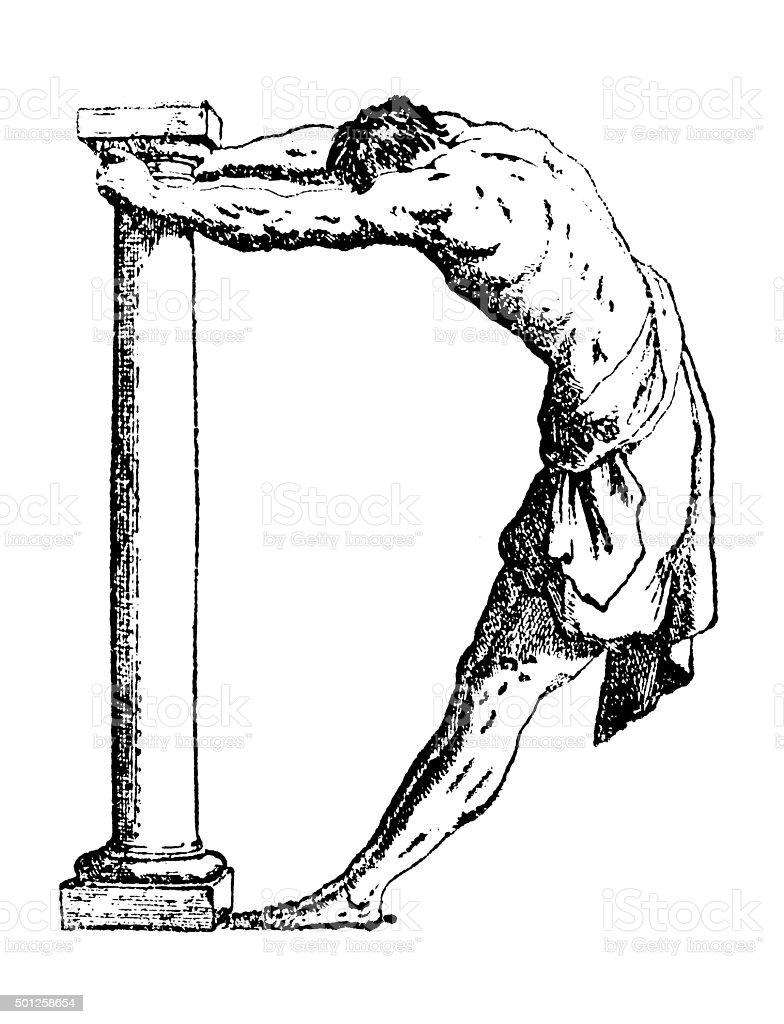 Antique illustration of humanized letter D with man's body bending vector art illustration